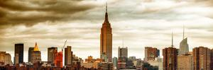 Panoramic Landscape View Manhattan with the Empire State Building at Sunset - New York by Philippe Hugonnard