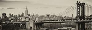 Panoramic Landscape View of Midtown NY with Manhattan Bridge and the Empire State Building by Philippe Hugonnard