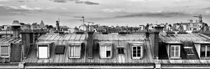 Panoramic Rooftops View, Black and White Photography, Sacre-Cœur Basilica, Paris, France by Philippe Hugonnard