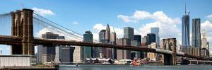 Panoramic Skyline of New York City, Manhattan and Brooklyn Bridge, One World Trade Center, US by Philippe Hugonnard