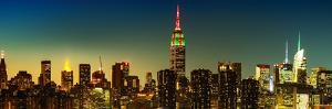 Panoramic Skyline of the Skyscrapers of Manhattan by Nightfall from Brooklyn by Philippe Hugonnard