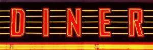 """Panoramic View, """"Diner"""" Sign Illuminated, Manhattan, New York by Philippe Hugonnard"""