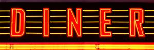 "Panoramic View, ""Diner"" Sign Illuminated, Manhattan, New York by Philippe Hugonnard"