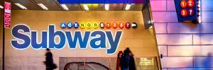 Panoramic View - Entrance of a Subway Station in Times Square - Urban Street Scene by Night by Philippe Hugonnard
