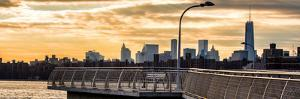 Panoramic View - Jetty View with Manhattan and One World Trade Center (1WTC) at Sunset by Philippe Hugonnard