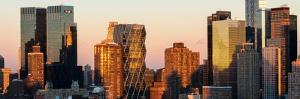 Panoramic View - Skyscrapers of Manhattan in Winter at Sunset - New York City - United States - USA by Philippe Hugonnard