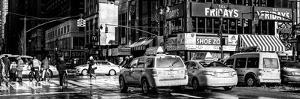 Panoramic View - Urban Street Scene with NYC Yellow Taxis / Cabs in Winter by Philippe Hugonnard