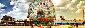 Panoramic View, Vintage Beach, Wonder Wheel, Coney Island, Brooklyn, New York, United States by Philippe Hugonnard