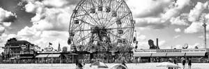 Panoramic View, Vintage Beach, Wonder Wheel, Coney Island, Brooklyn, New York by Philippe Hugonnard