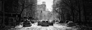 Panoramic View - Yellow Taxis on Fifth Avenue Snow in Manhattan by Philippe Hugonnard