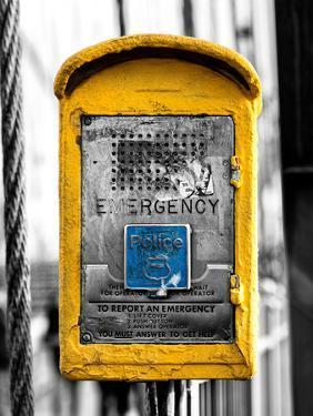Police Emergency Call Box on the Walkway of the Brooklyn Bridge in New York by Philippe Hugonnard