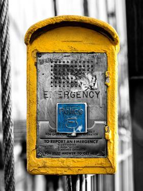 Police Emergency Call Box on the Walkway of the Brooklyn Bridge in New York by Philippe Hugonnard