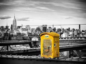 Police Emergency Call Box on the Walkway of the Brooklyn Bridge with Skyline of Manhattan by Philippe Hugonnard