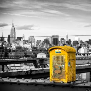 Police Emergency Call Box on the Walkway of the Brooklyn Bridge with Skyline of Manhattan by Philippe Hugonnard
