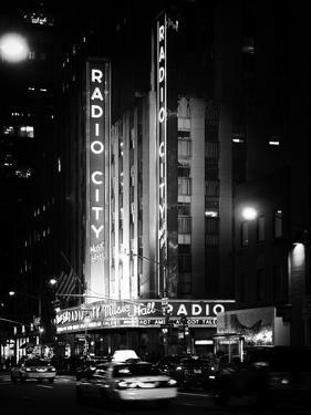 Radio City Music Hall and Yellow Cab by Night, Manhattan, Times Square, NYC, Old Classic by Philippe Hugonnard