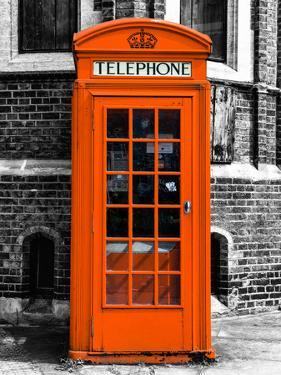 Red Phone Booth in London painted Orange - City of London - UK - England - United Kingdom - Europe by Philippe Hugonnard