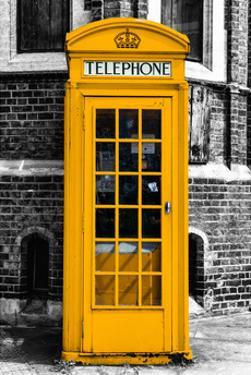 Red Phone Booth in London painted Yellow - City of London - UK - England - United Kingdom - Europe by Philippe Hugonnard