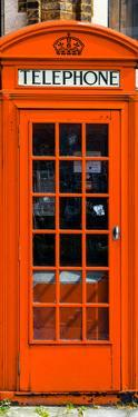 Red Phone Booth painted Orange in London - City of London - UK - England - Photography Door Poster by Philippe Hugonnard