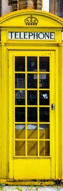 Red Phone Booth painted Yellow in London - City of London - UK - England - Photography Door Poster by Philippe Hugonnard