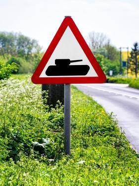 Road Sign - Milatary Vehicles (Tank) - UK - England - United Kingdom - Europe by Philippe Hugonnard