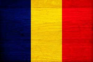 Romania Flag Design with Wood Patterning - Flags of the World Series by Philippe Hugonnard