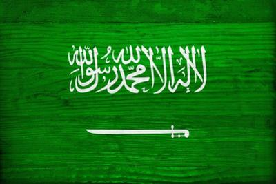 Saudi Arabia Flag Design with Wood Patterning - Flags of the World Series