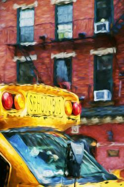 School Bus - In the Style of Oil Painting by Philippe Hugonnard