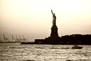 Sculpture and statue - Statue of Liberty - Sunset - Manhattan - New York City - United States by Philippe Hugonnard