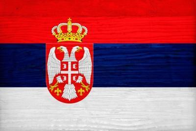Serbia Flag Design with Wood Patterning - Flags of the World Series