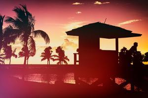 Silhouette of Life Guard Station at Sunset - Miami by Philippe Hugonnard