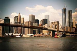 Skyline of NYC with One World Trade Center and East River, Manhattan and Brooklyn Bridge, Vintage by Philippe Hugonnard