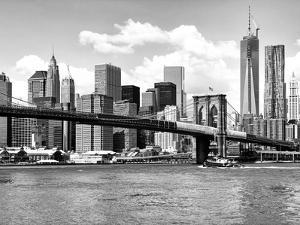 Skyline of NYC with One World Trade Center and East River, Manhattan and Brooklyn Bridge by Philippe Hugonnard