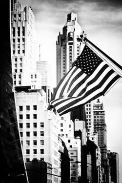 Skyscrapers View, American Flag, Midtown Manhattan, NYC, White Frame, Old by Philippe Hugonnard