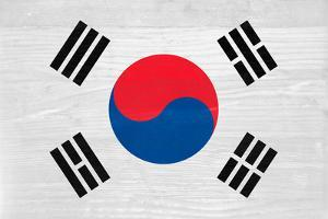 South Korea Flag Design with Wood Patterning - Flags of the World Series by Philippe Hugonnard