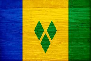 St. Vincent And The Grenadines Flag Design with Wood Patterning - Flags of the World Series by Philippe Hugonnard