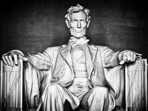 Statue of Abraham Lincoln, Washington D.C, District of Columbia, White Frame, White Frame by Philippe Hugonnard