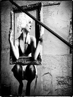 Street Art, Murals Style, French Artist, Paris with White Frame Vintage by Philippe Hugonnard
