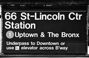 Subway Sign at Times Square, 66 Street Lincoln Station, Manhattan, NYC, White Frame by Philippe Hugonnard