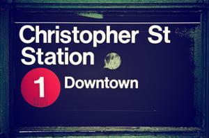 Subway Station Sign, Christopher Street Station, Downtown, Manhattan, NYC, White Frame by Philippe Hugonnard