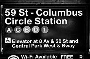 Subway Station Signs, 59 Street Columbus Circle Station, Manhattan, NYC, White Frame by Philippe Hugonnard