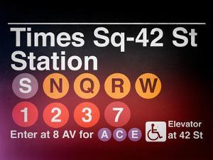 Subway Times Square - 42 Street Station - Subway Sign - Manhattan, New York City, USA by Philippe Hugonnard