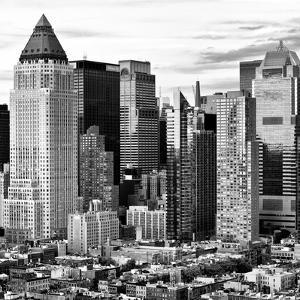 Sunset Landscape, Times Square, Manhattan, New York City, US, Square Black and White Photography by Philippe Hugonnard