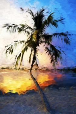 Sunset Palm V - In the Style of Oil Painting by Philippe Hugonnard