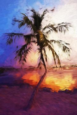 Sunset Palm VI - In the Style of Oil Painting by Philippe Hugonnard