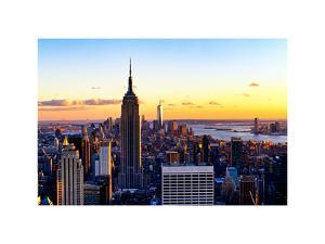 Sunset Skyscraper Landscape, Empire State Building and One World Trade Center, Manhattan, New York by Philippe Hugonnard