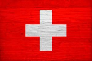Switzerland Flag Design with Wood Patterning - Flags of the World Series by Philippe Hugonnard