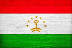 Tajikistan Flag Design with Wood Patterning - Flags of the World Series by Philippe Hugonnard