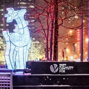 The Christmas Ornaments at 21st Century Fox across from the Radio City Music Hall by Night by Philippe Hugonnard