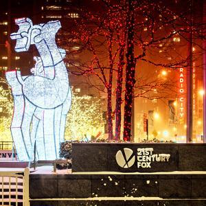 The Christmas Ornaments at 21st Century Fox across from the Radio City Music Hall by Red Night by Philippe Hugonnard