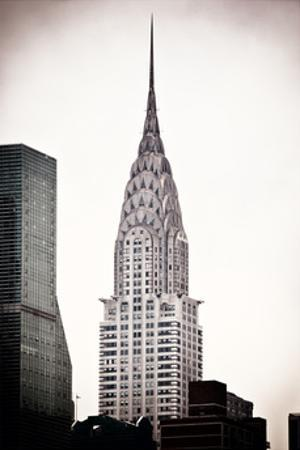 The Chrysler Building, Art Deco Style Skyscraper in NYC, Turtle Bay, Manhattan, US, White Frame
